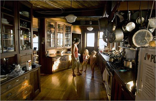 Visitors to Clingstone grab a snack from the kitchen before heading to the beach.
