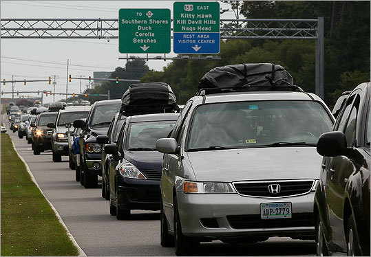 Cars sat in traffic on the Croatan Highway as people evacuated North Carolina's Outer Banks area.