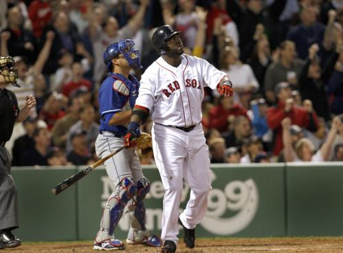 Red Sox DH David Ortiz got his first hit of the season at Fenway Park, and it was a big one. This grand slam gave him two home runs on the young season.