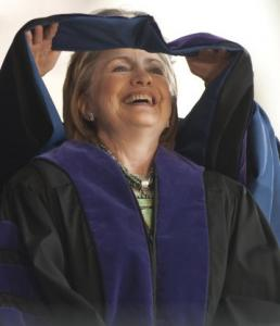Secretary of State Hillary Rodham Clinton received an honorary Doctor of Laws degree at the Yale University commencement in New Haven yesterday. (Douglas Healey/ Associated Press)