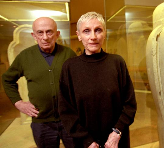 Nancy Spero with her husband, painter Leon Golub, at the Metropolitan Museum of Art in 1995. She depicted war's horrors in pictures using gouache, ink, and collage on paper.