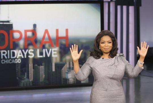 Oprah Winfrey yesterday on the set of her show in Chicago.