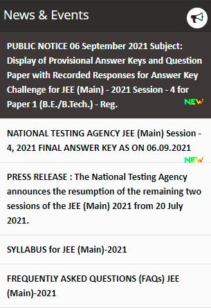 JEE Main Website