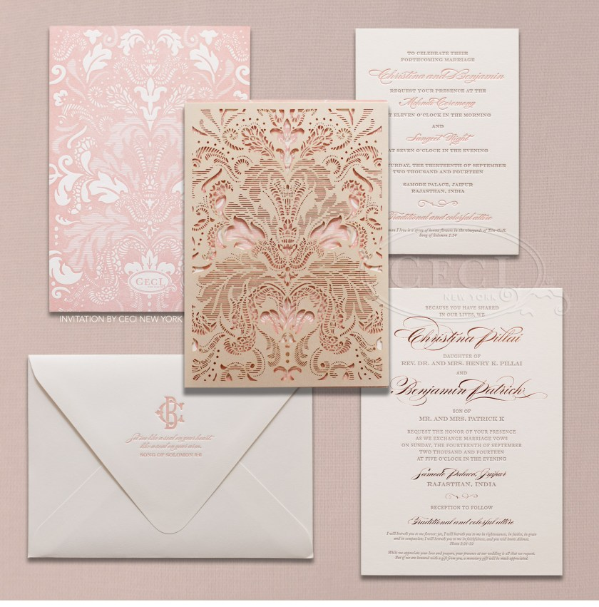 Indian Inspired Wedding Invitations Ideas V246 Our Muse Vibrant Christina Benjamin Letterpress