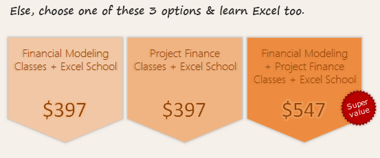 Financial Modeling & Project Finance Classes + Excel School - Signup Options