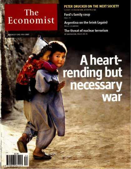 Image result for Economist cover 1 november 2001 heart rending but necessary war