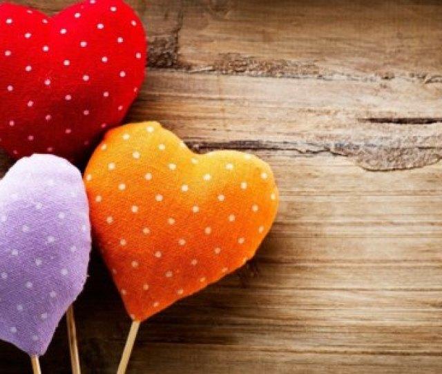 Colorful Hearts Orange Heart Style Red Wood Purple Pop