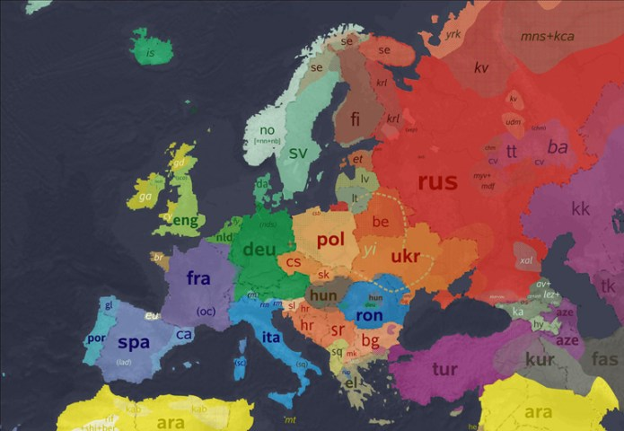 Maps of Europe by language  religion  population density  hair   eye     Map of languages in Europe