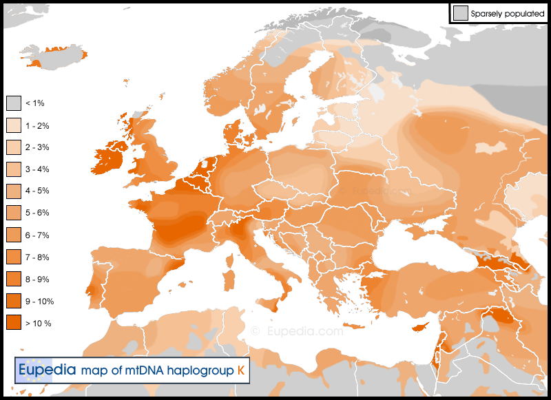 Distribution of mtDNA haplogroup K in Europe, North Africa and the Middle East