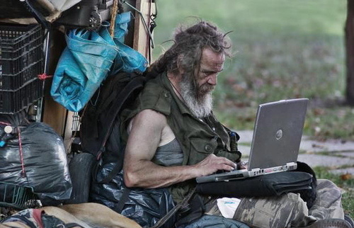 He May Be Homeless, But At Least He Has Facebook
