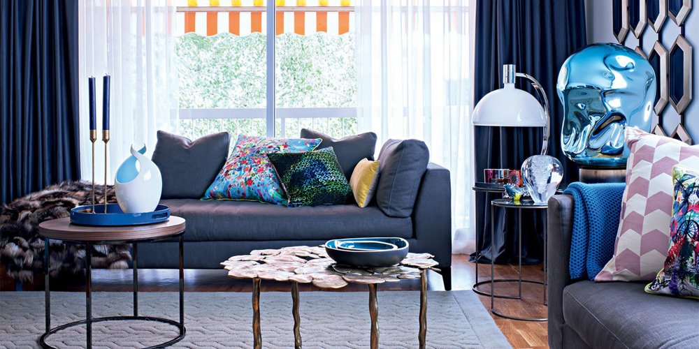 grand salon bleu design