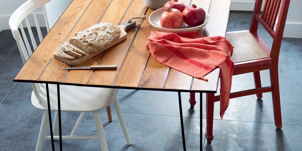 Diy Deco Fabriquer Une Table En Bois Vintage Avec Du Lambris Marie Claire
