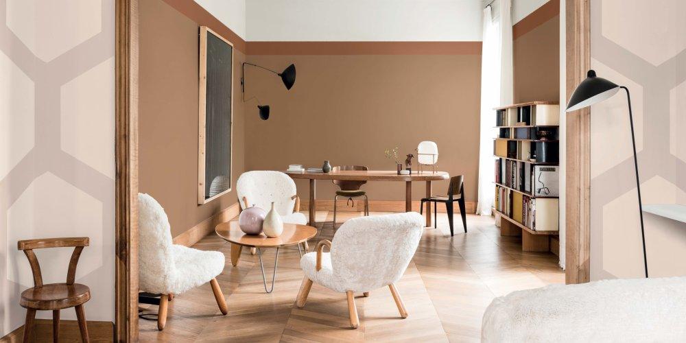 couleur tendance 2019 mur miel ambre au salon