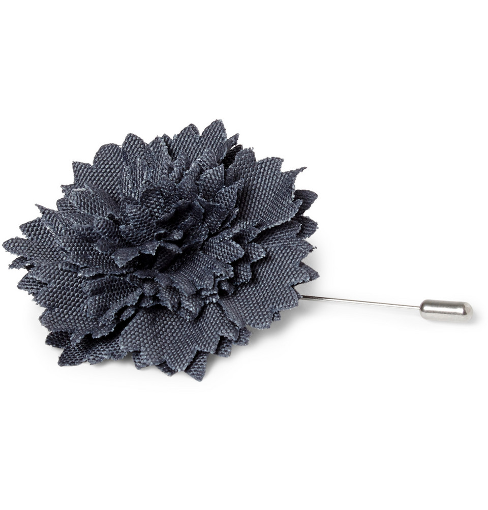 Men's Lanvin flower pin in fabric and leather