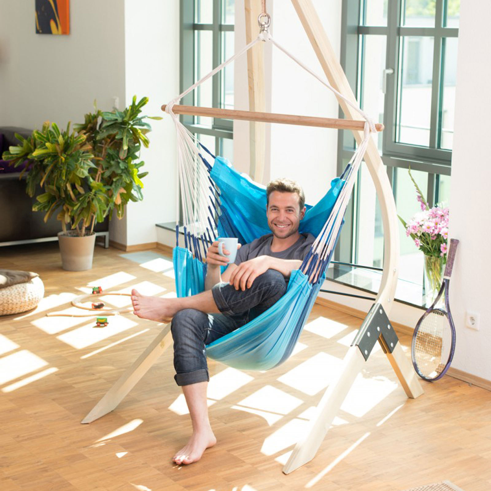 support en bois pour chaise hamac vela