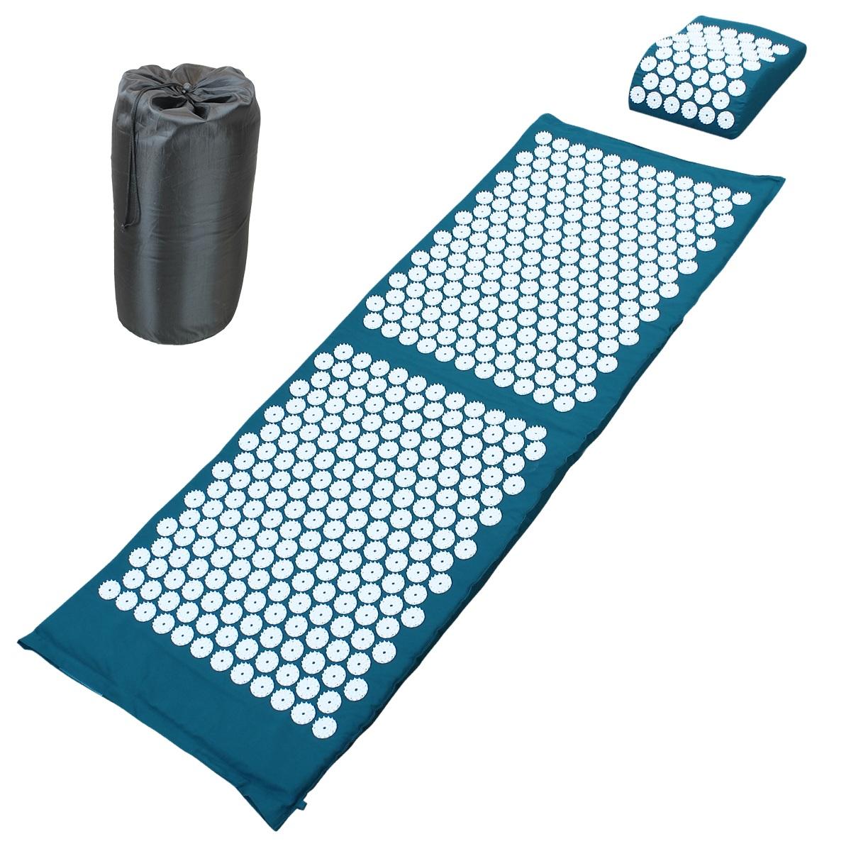 tapis d acupression 130 x 50 cm bleu