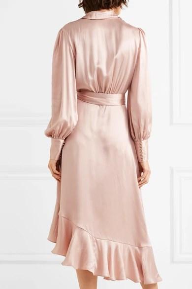 Zimmermann Ruffled Washed Silk Wrap Dress