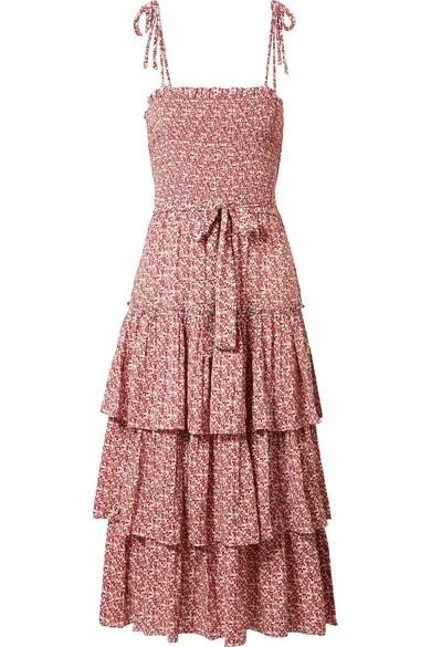 Tory Burch Ruffled smocked floral print midi dress