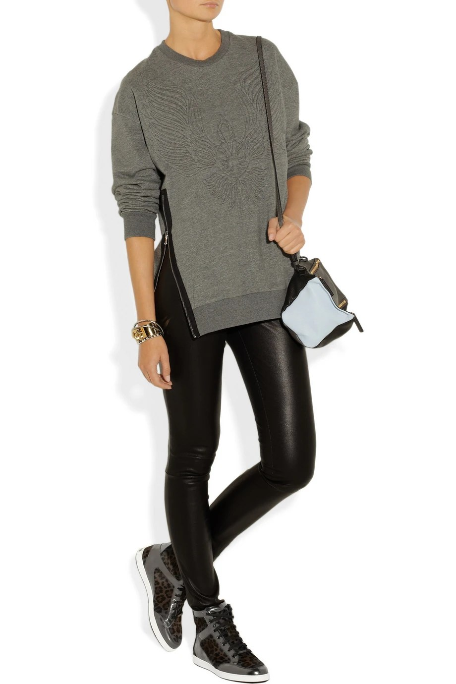 Sweater Legging Jeans and High Top Sneakers