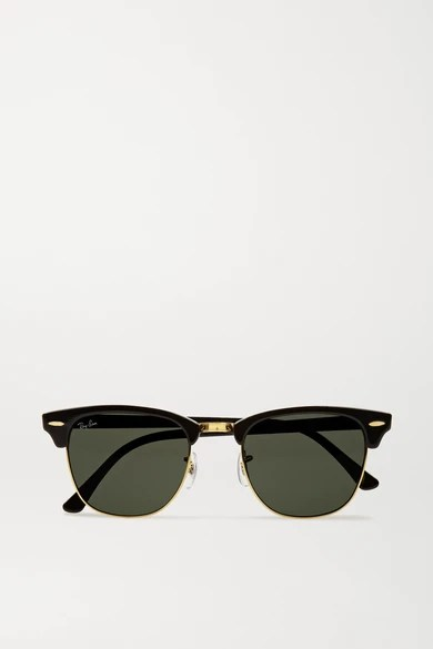 RAY BAY CLUBMASTER ACETATE SUNGLASSES BLACK