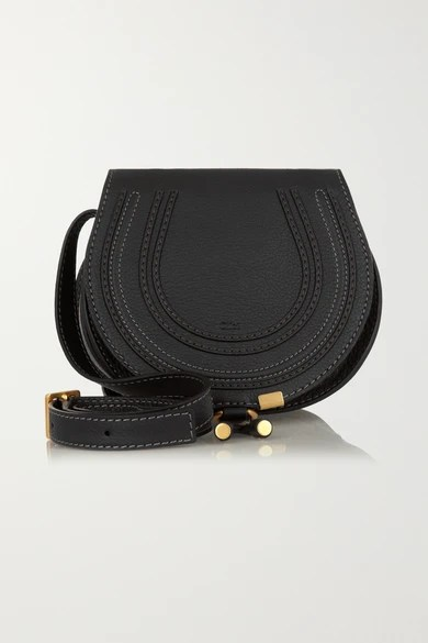 CHLOE MARCIE MINI TEXTURED LEATHER SHOULDER BAG BLACK