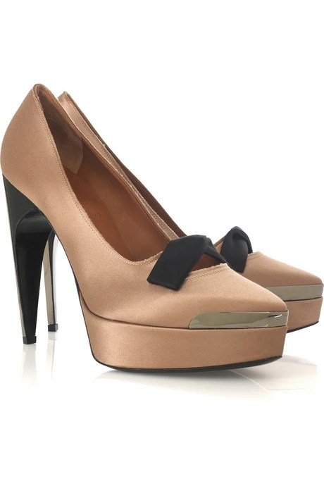 Bow Front Satin Pumps