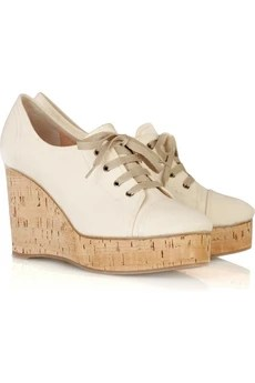 ChloéLace-up canvas wedges