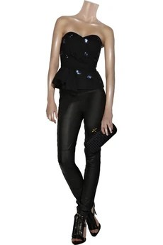 DKNY Sequined georgette bustier
