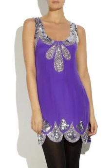 Rachel Gilbert Silk beaded tank dress