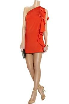 HalstonAsymmetric silk mini dress
