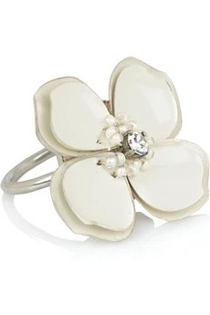Chloé Enamel and brass flower ring