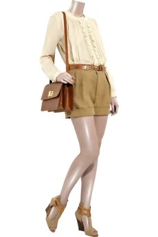ChloéHigh-waisted linen shorts