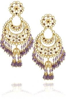 IsharyaMoon Bali 18-karat gold-plated amethyst earrings