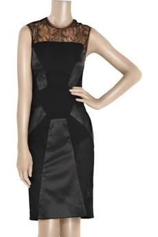 Antonio BerardiPaneled silk and lace dress