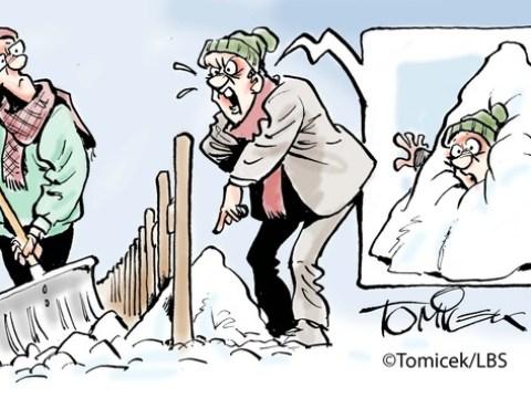 Harmlose Schaufel Schnee / Ein Ablegen geringster Mengen beim Nachbarn ist hinzunehmen
