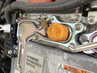誰のしわざ!?整備士さんが車のボンネットを開けるとそこには「カニクリームコロッケ」があった