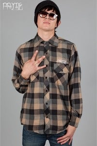 Image of Men's PRIDE Flannel - Black/Tan