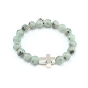 Image of Edah. Lotus Jade Cross Bracelet