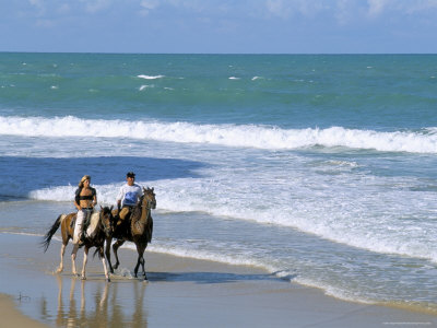 Couple Riding Horses on the Beach, Tibau Do Sul, Natal, Rio Grande Do