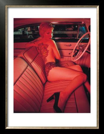 Pin-Up Girl: Pink Tattoo Framed Art Print