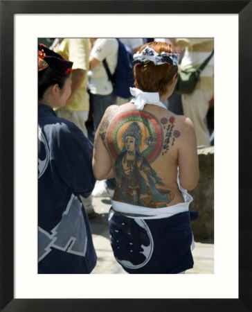 Girl with Shiva Tattoo on Back, Sensoji Temple, Asakusa,