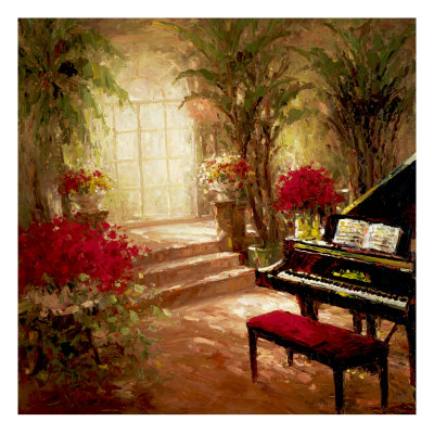 music room with grand piano, bench, and open music, palms, arched window, and red plants