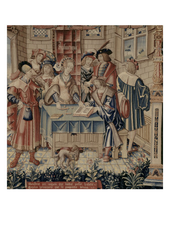 medieval tapestry with woman sitting at a table with counting pieces or money, reading a book which a man is holding for her, and surrounded by six other men. A dog is lying on the floor in front of the table