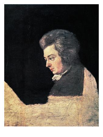 Mozart, unfinished portrait, black coat, white shirt, natural hair, looks left