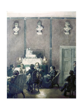 four middle-aged and elderly spectators in nineteenth-century dress (three seated), listen to a string quartet playing. Two of the spectators are women and seated in padded armchairs. The string quartet is seated in caneback straight chairs facing each other. High on the paneled wall are three marble busts. Two male spectators are at the far right of the picture, talking. One is seated in a chair like the musicians'; the other is standing.