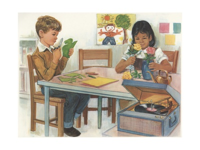 drawing of boy and girl sitting at table in schoolroom; working on a project, with record player going. Boy is cutting out a dinosaur and girl is putting flowers in a vase