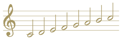 Gold half notes on a treble staff show scale from middle c to the c above