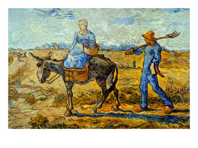 Morning with Farmer and Pitchfork; His Wife Riding a Donkey and Carrying a Basket Giclee Print