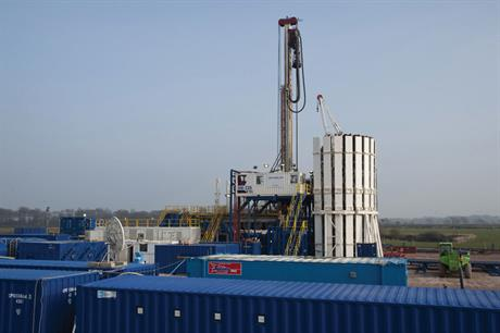 A shale gas fracking rig