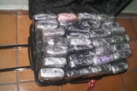 Dentro de la maleta requisada fueron hallados los 30 paquetes, equivalentes a 33.8 kilos